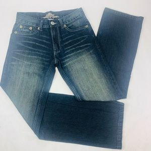 GSH Mens Jeans 28 x 30 Black Straight Leg Med Wash